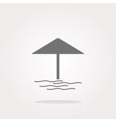 Beach umbrella on web icon button isolated vector image