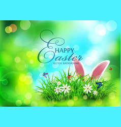 Background for easter template rabbit ears vector