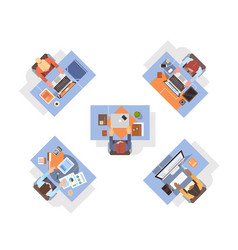 People using computers businesspeople workplace vector