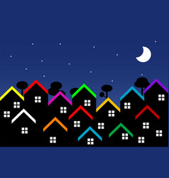 Night city with houses vector
