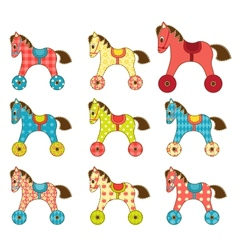 Set of patchwork horses 8 vector