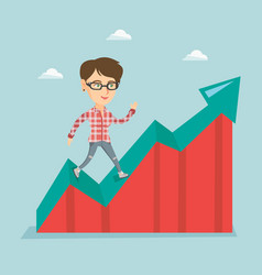 Happy business woman standing on profit chart vector