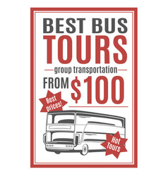 template for bus tours advertisement vector image