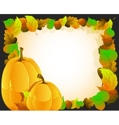 Pumpkins on autumn leaves background vector image