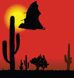 Flying bat black silhouette and cactus vector