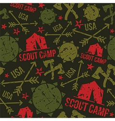 Scout camp seamless pattern vector
