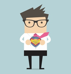 Businessman opening shirt in superhero style vector
