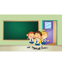 Students and classroom vector