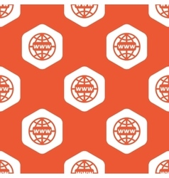 Orange hexagon global network pattern vector