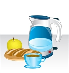Teapot and products on table vector
