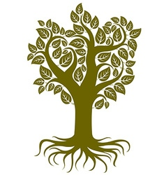 Art of branchy tree with strong roots tree vector