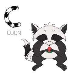 Alphabet letter c coon children vector