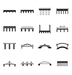 Bridge set icons simple style vector