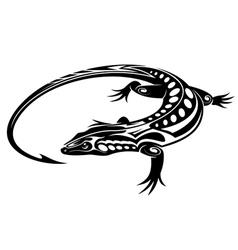 Black iguana lizard vector image