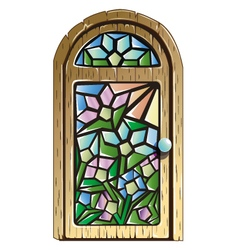Doors with stained glass vector