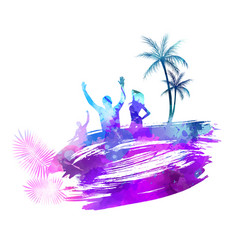 Abstract painted splash shape with silhouettes vector