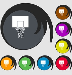 Basketball backboard icon Symbols on eight colored vector image vector image