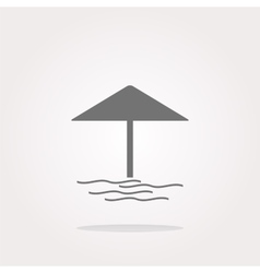 Beach umbrella on web icon button isolated vector image