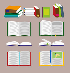 Books icons and library icons with brown vector