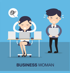Business woman in hard working vector
