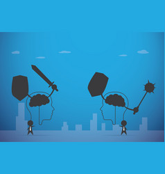businessmen and brain fighting vector image