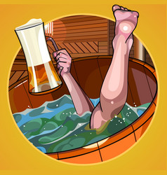 Cartoon man with a beer in hand dives vector