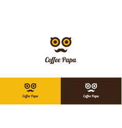 Coffee papa logo with character vector