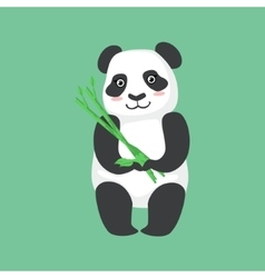 Cute panda character holding bamboo sticks vector