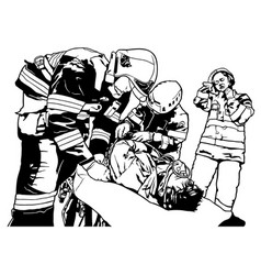 firefighters and saved man vector image
