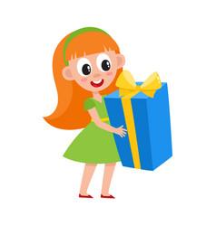 flat girl holding big present box vector image vector image