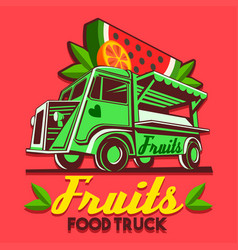 Food truck fruit stand fast delivery service logo vector