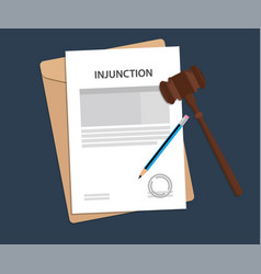 injuction text on stamped paperwork vector image vector image