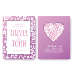 Invitation or wedding cards with floral elements vector