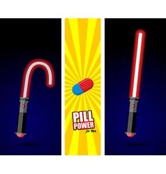 Lightsaber Pill power for men Slack sword light vector image vector image
