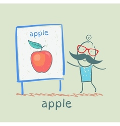 man shows a presentation of the apple vector image