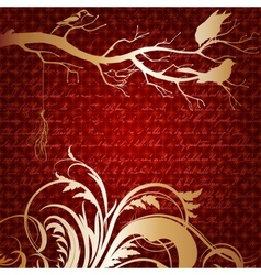 Red luxury background with tree branch and birds vector image