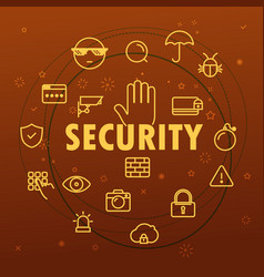 Security concept different thin line icons vector
