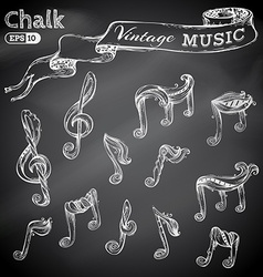 set of chalk music icons vector image