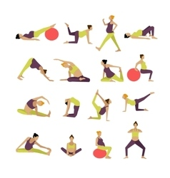 Set of pregnant women are doing exercise vector