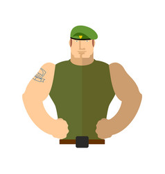 Soldier portrait military in green beret special vector