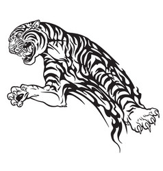 tiger tribal black and white vector image vector image