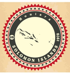 Vintage label-sticker cards of Solomon Islands vector image
