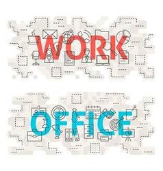 Work Office Line Art Concept vector image