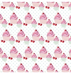 Cherry cupcakes pattern vector