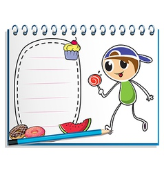 A notebook with a drawing of a boy eating a vector image