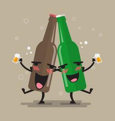 Two drunk beer bottle character vector