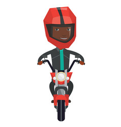 Young african-american man riding motorcycle vector