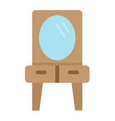mirror with table flat icon furniture interior vector image