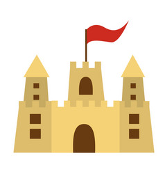 Color silhouette with sand castle with flag vector