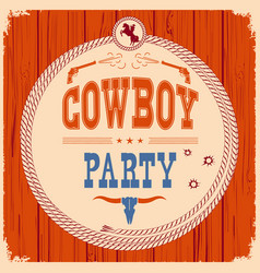 Cowboy party western card background with guns vector